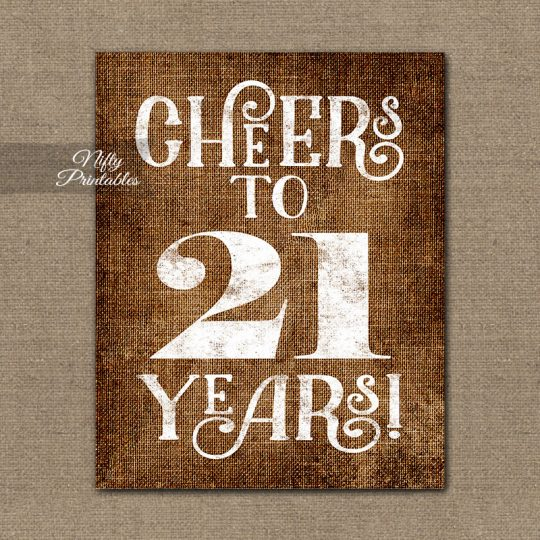 21st Birthday Sign - Brown Linen