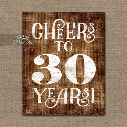 30th Birthday Anniversary Sign - Brown Linen