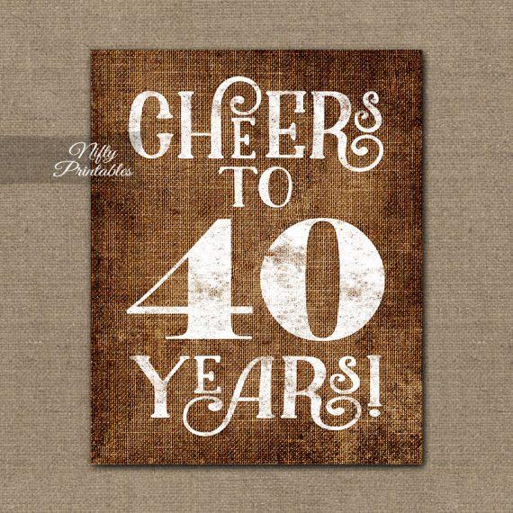 40th Birthday Anniversary Sign - Brown Linen