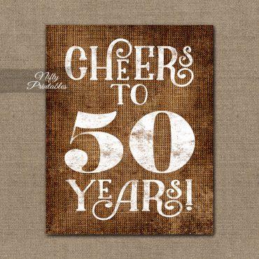 50th Birthday Anniversary Sign - Brown Linen