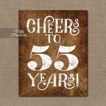 55th Birthday Sign - Brown Linen