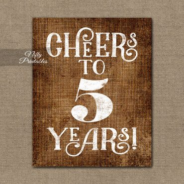 5th Anniversary Sign - Brown Linen