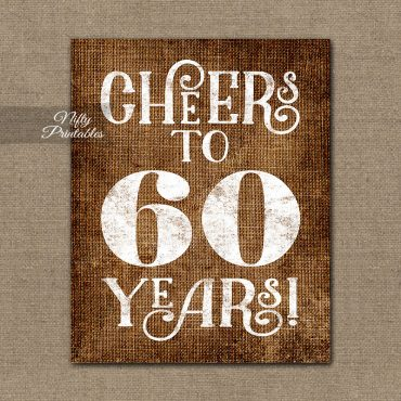 60th Birthday Anniversary Sign - Brown Linen