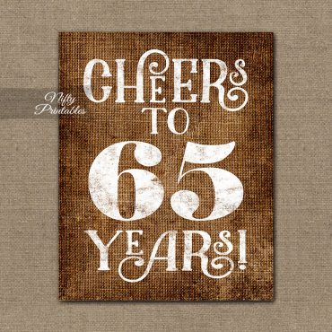 65th Birthday Sign - Brown Linen