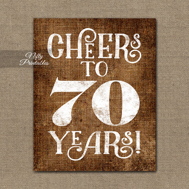 70th birthday sign - brown linen