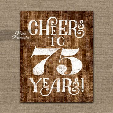 75th Birthday Sign - Brown Linen