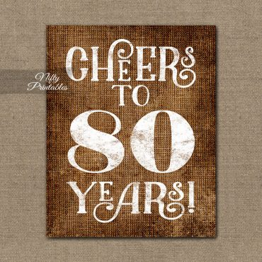 80th Birthday Sign - Brown Linen
