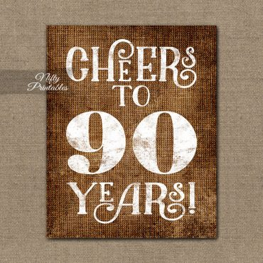 90th Birthday Sign - Brown Linen