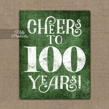 100th Birthday Sign - Green Linen