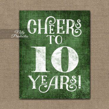 10th Anniversary Sign - Green Linen
