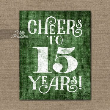15th Anniversary Sign - Green Linen