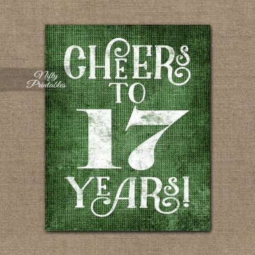 17th Birthday Sign - Green Linen