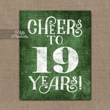 19th Birthday Sign - Green Linen