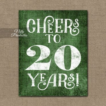 20th Anniversary Birthday Sign - Green Linen
