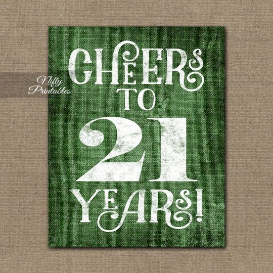 21st Birthday Sign - Green Linen