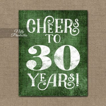 30th Birthday Anniversary Sign - Green Linen