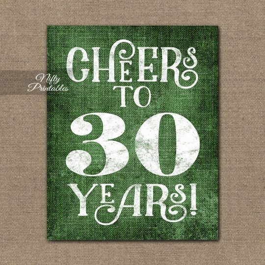 30th Birthday Anniversary Sign - Green Linen