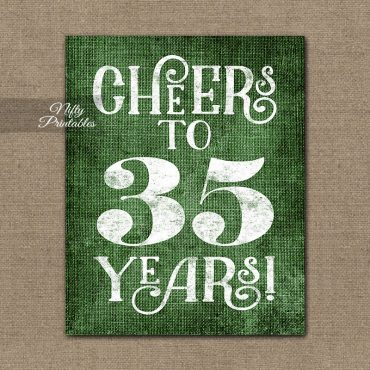 35th Birthday Sign - Green Linen