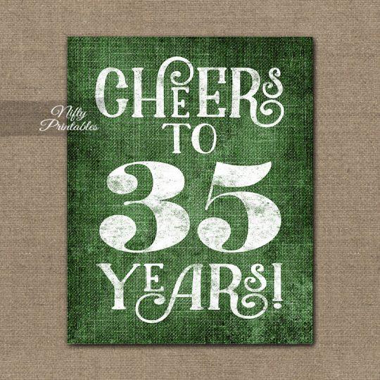 35th Birthday Sign - Green Linen