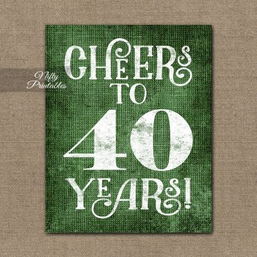40th Birthday Anniversary Sign - Green Linen