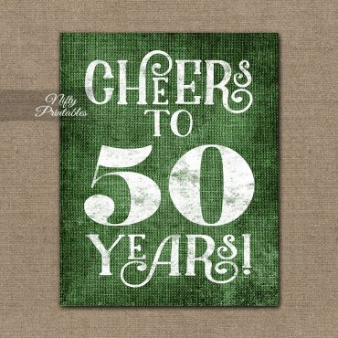 50th Birthday Anniversary Sign - Green Linen
