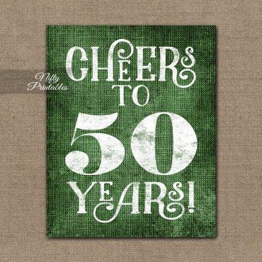 50th Birthday Anniversary Sign - Green Linen