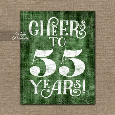 55th Birthday Sign - Green Linen