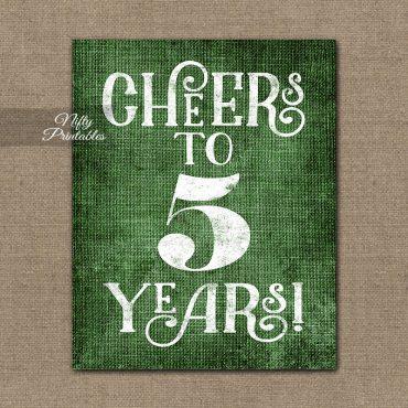 5th Anniversary Sign - Green Linen