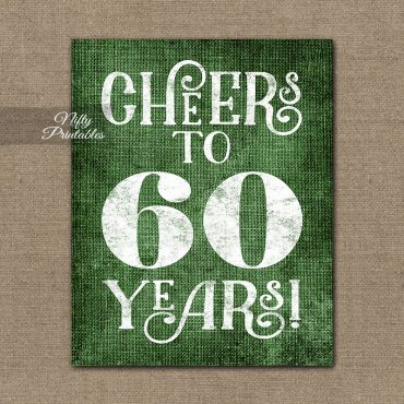 60th Birthday Anniversary Sign - Green Linen
