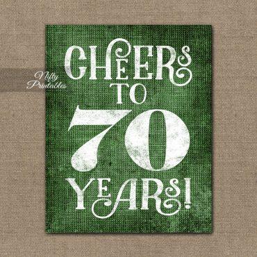 70th Birthday Sign - Green Linen