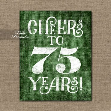 75th Birthday Sign - Green Linen