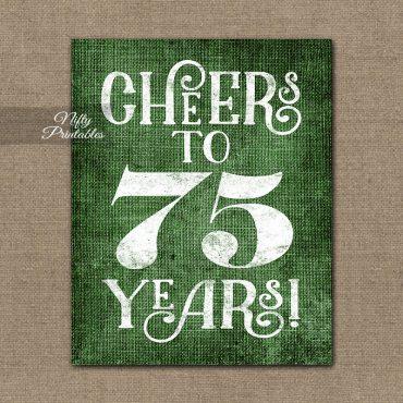 75th Birthday Sign - Green Linen
