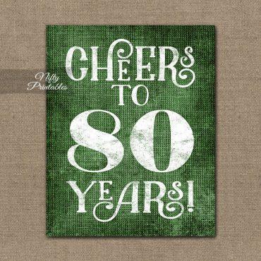 80th Birthday Sign - Green Linen