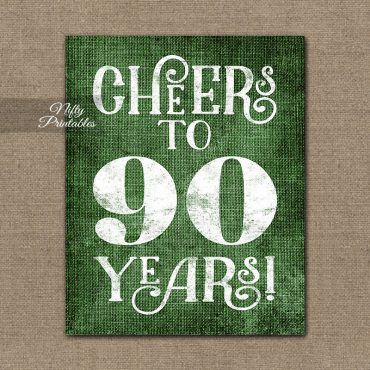 90th Birthday Sign - Green Linen