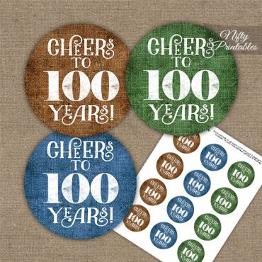100th Birthday Cupcake Toppers - Linen Cheers To Years