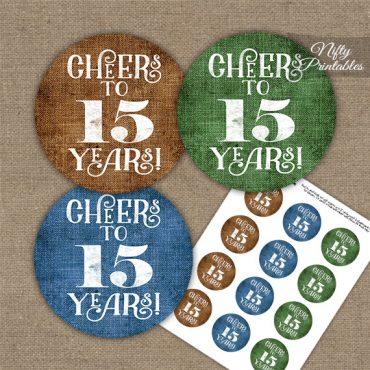 15th Anniversary Cupcake Toppers - Linen Cheers To Years