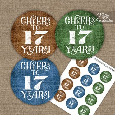 17th Birthday Cupcake Toppers - Linen Cheers To Years