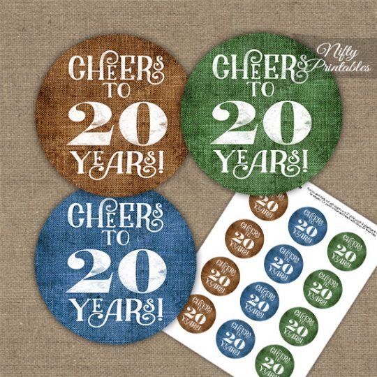 20th Birthday Anniversary Cupcake Toppers - Linen Cheers To Years