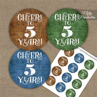 5th Anniversary Cupcake Toppers - Linen Cheers To Years
