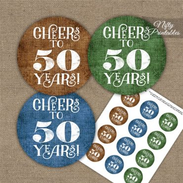 50th Birthday Cupcake Toppers - Linen Cheers To Years