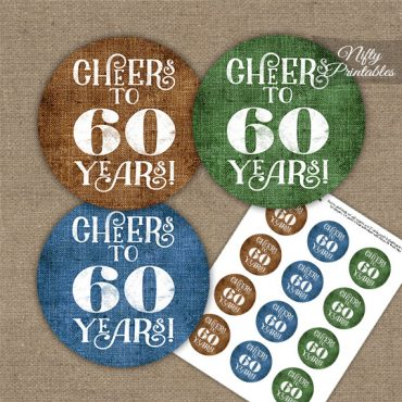 60th Birthday Cupcake Toppers - Linen Cheers To Years