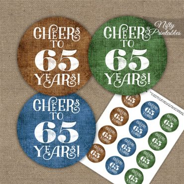 65th Birthday Cupcake Toppers - Linen Cheers To Years