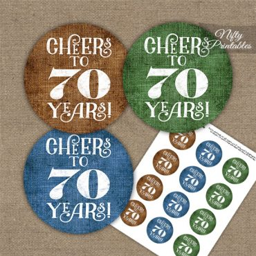 70th Birthday Cupcake Toppers - Linen Cheers To Years