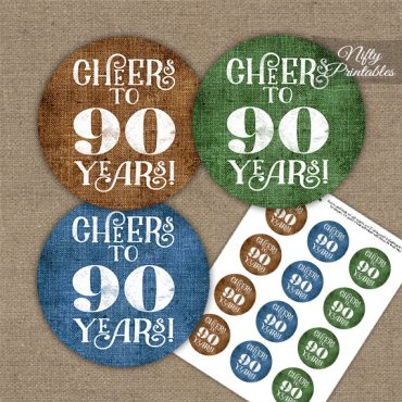 90th Birthday Cupcake Toppers - Linen Cheers To Years