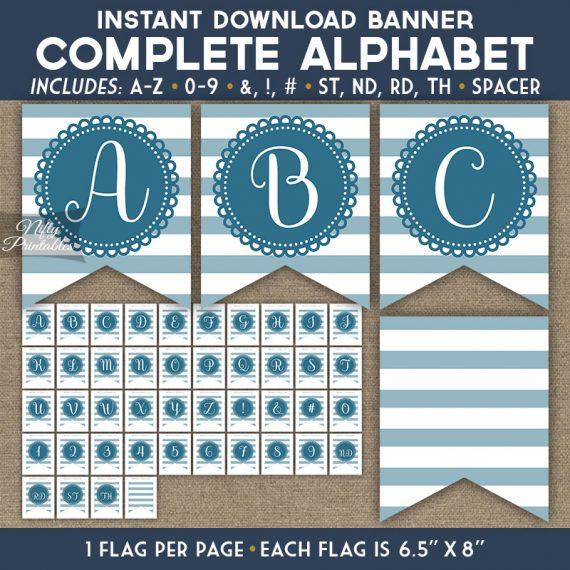 Alphabet Party Banner - Loop Stripe Blue