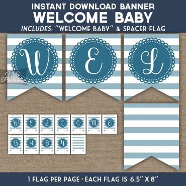Baby Shower Banner - Loop Stripe Blue