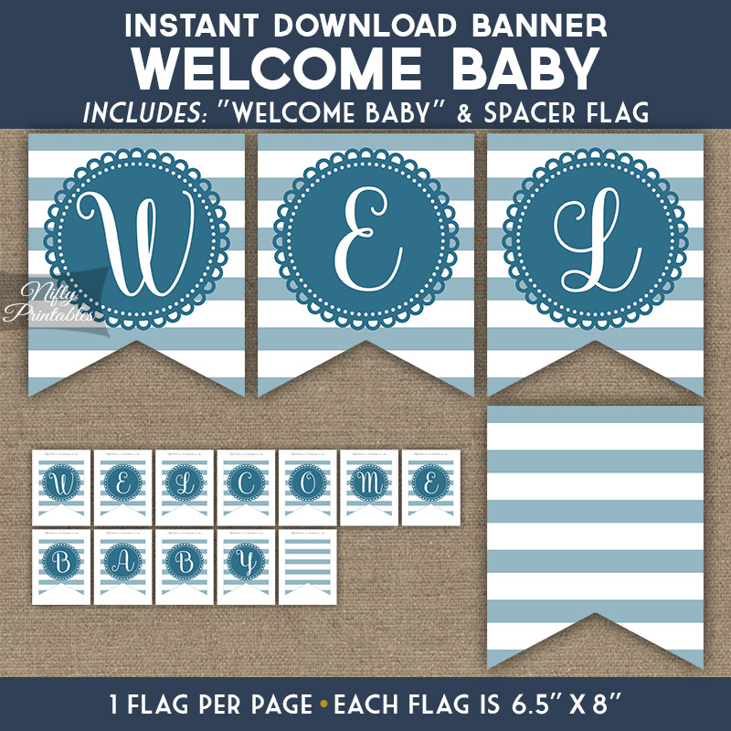 photograph about Printable Baby Shower Banners named Youngster Shower Banner - Loop Stripe Blue