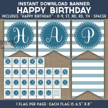 Happy Birthday Banner - Loop Stripe Blue