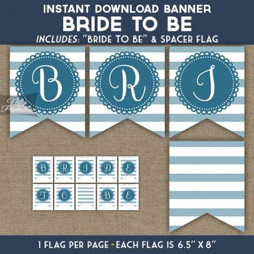 Bridal Shower Banner - Loop Stripe Blue