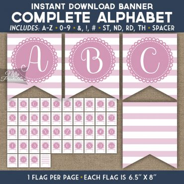 Alphabet Party Banner - Loop Stripe Pink
